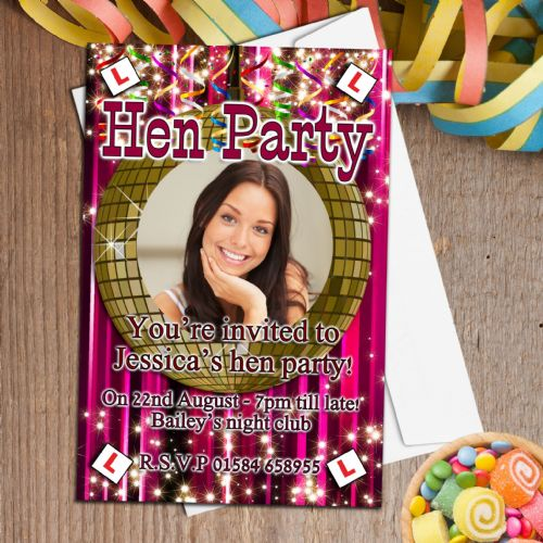 10 Personalised Hen Party PHOTO Invitations Invites N22
